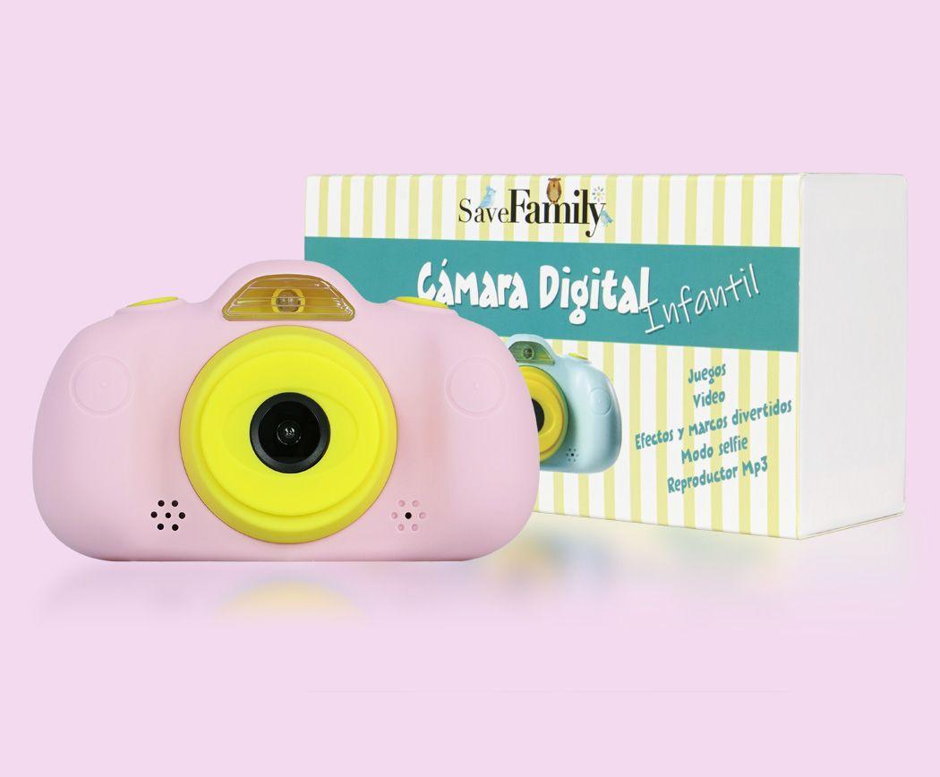 camara de fotos para niños save family rosa frontal caja